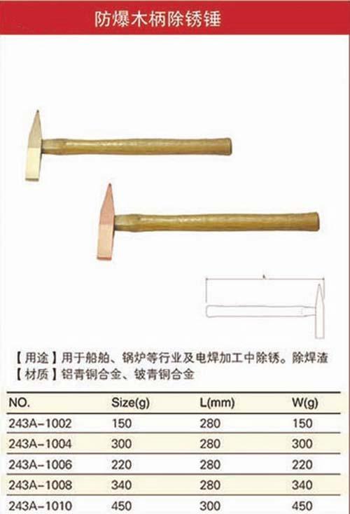 防爆木柄除锈锤规格