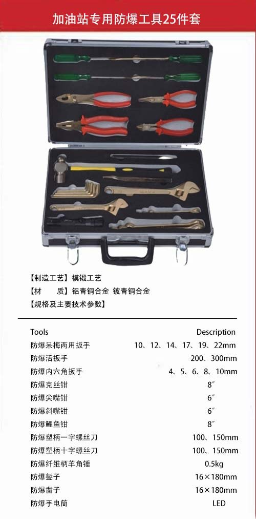 加油站专用防爆工具25件套规格